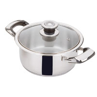 Stainless steel pot with lid 2 pcs: 1 lid, 1 casserole.