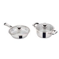 Stainless steel cookware set 4 pcs: 2 lids, 1 casserole, 1 frying pan.