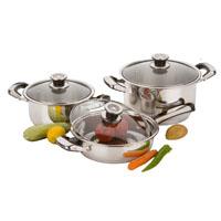 Stainless steel cookware set 6 pcs: 3 lids, 2 casseroles, 1 frying pan.