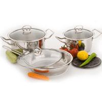 Stainless steel cookware set 7 pcs:  3 lids, 2 casseroles, 1 frying pan, and 1 trivet