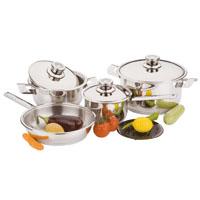 Stainless steel cookware set 8 pcs: 3 lids, 2 casseroles, 1 frying pan, 1 milk pan and 1 trivet