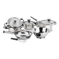Stainless steel cookware set Eco 13 pcs: 4 lids, 3 casseroles, 1 frying pan, 1 steamer, 1 beater, 1 colander, 1 deep-fryer and 1 trivet.