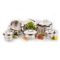 Stainless steel cookware set Avant-garde 13 pcs: 4 lids, 3 casseroles, 2 milk pans, 1 deep-fryer, and 1 steamer.