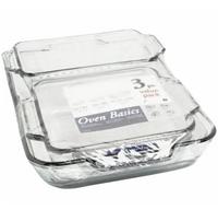 "•Value Pack: 5qt. Baking Dish, 8"" Square, and 1.5qt Loaf.  •Clear Glass Bakeware 3 sets Shrink Wrap •item 68315OBL11"